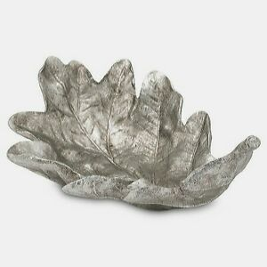 Ornamental LEAF BOWL decorative home display dish resin silver tone gift