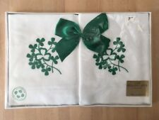 Vintage Brownlow Ireland Clover Cotton Pillowcases Set of 2 NOS Embroidered
