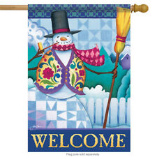 "Classic Snowman Winter Welcome Decorative House Flag by Jim Shore 28"" x 40"""