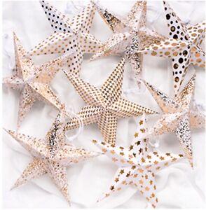 Star decorations 8 handmade paper hanging stars/lanterns white & gold-22.5cm NEW