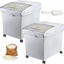 More details for 2 x 40l ingredient storage bin rice flour bin on wheels 8.8 gallons with scoop