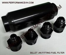 40 Micron BLACK FUEL FILTER INLINE -6AN -8AN 6 8 AN UNIVERSAL HIGH FLOW TURBO