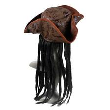 Halloween Pirate Captain Hat Party Costume Headgear Braids Wig Cap Cosplay Props