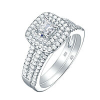 Wedding Engagement Ring Set For Women 1.5ct Princess Cz 925 Sterling Silver 5-10