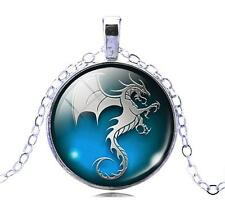 Blue Dragon Art Picture Glass Cabochon Pendant Silver Necklace Unisex 647-1