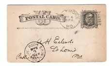 Leavitt Baltimore MD machine cancel on postal card, 1884