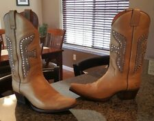 GORGEOUS Gold & Pink Leather Frye Daisy Duke Cristals Cowgirl Cowboy Boots 9