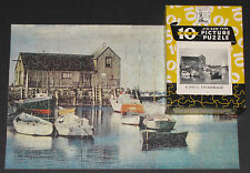 "Vtg Big 10 Perfect Picture Jigsaw Puzzle ""A Snug Anchorage"" Lake Marina Boat Cib"