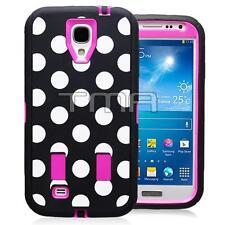 Samsung S4 i9500 Polka Dot Rugged Defender Shock Proof Case w/ Screen - Hot Pink