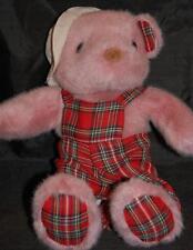 "Rose Bear Red Plaid Jumper Feet Ears  Stuffed Animal Lovey 12"" Camp Style Hat"