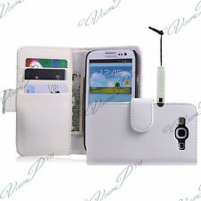 ETUI HOUSSES PORTEFEUILLE STYLET  BLANC Samsung Galaxy S3 mini i8190 + FILMS