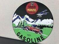 Signal Peerless gasoline 1931 purr pull RARE garage round metal  sign