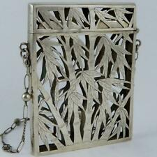 ANTIQUE CHINESE EXPORT BAMBOO PIERCED SIGNED SILVER CHATELAINE CARD CASE