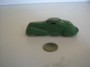 Vintage 4-Inch Wyandotte Coupe. Original Green Paint. Wooden Tires. Very Rare.