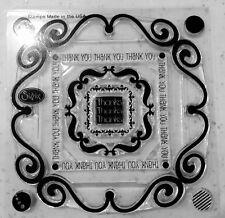 Sizzix Clear rubber stamp 9 timbres décoratifs Cadres & merci merci