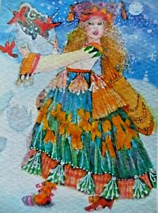 ACEO OriGiNaL*A WiNteR FaiRY FinDs A HuGe eGG iN the SnoW!*WhaT's InSiDe?!