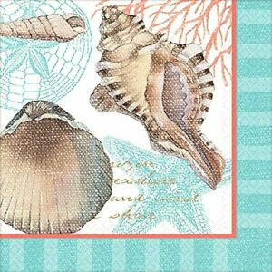 By the Sea Ocean Seashells Summer Luau Theme Party Paper Beverage Napkins