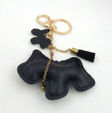 Faux Black Leather Puppy Dog Key Chain Ring Fob Purse Charm Pendant