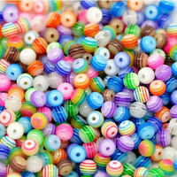 200pcs 6mm Multicolor Striped Resin Round Spacer Loose BeadsP