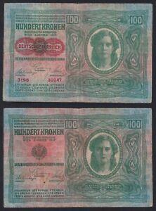 Austria / Ungheria 100  kronen 1912 BB/VF  C-05