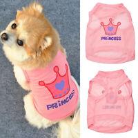 Fashion Pet Dog  Princess Letter Crown T-shirt Vest Coat Puppy Costumes