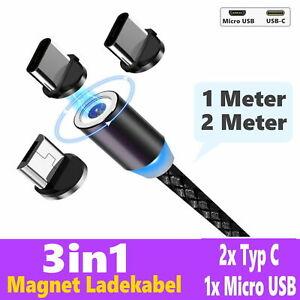 Ladekabel für Samsung Handy Magnet LED 1m | 2m Micro USB Typ-C LG Huawei Xiaomi