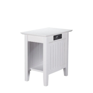Atlantic Furniture End Table 14 in. W x 22 in. H Solid Wood-Top Frame Painted