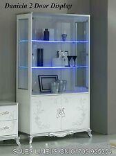 Daniela Italian White/Silver 2 Door Vetrine/Display Cabinet Italian Furniture