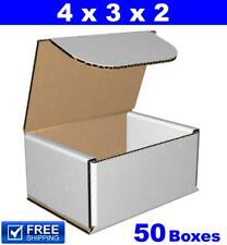 50 - 4x3x2 White Corrugated Cardboard Mailer Packaging Shipping Mailing Boxes ne