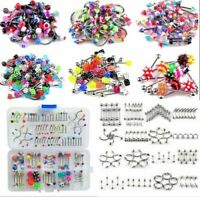 105Pcs Punk Body Piercing Jewelry Eyebrow Navel Belly Tongue Nose Bar Ring Set
