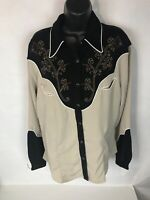 Wrangler Womens Two Tone Western Shirt Rose Embroidered Size L LW4361m