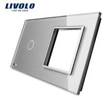 Original LIVOLO Glasrahmen für 1 Gang Touch Lichtschalter + Steckdose Grau