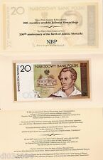 Pologne POLAND Billet 20 ZLOTYCH 2009 COMMEMORATIVE SLOWACKI  + FOLDER NEUF UNC