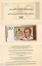 Pologne POLAND Billet 20 ZLOTYCH 2009 COMMEMORATIVE SLOWACKI  + FOLDER NEUF UNC