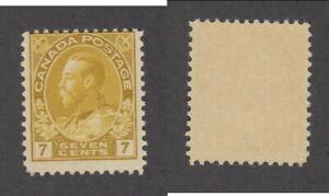 MNH Canada 7c KGV Admiral Yellow Ochre Stamp #113 (Lot #20069)