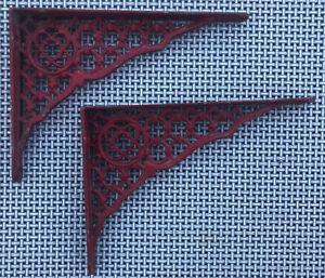 2 VTG Red Metal Wall Shelf/ Holder Scrolled Ornate Design
