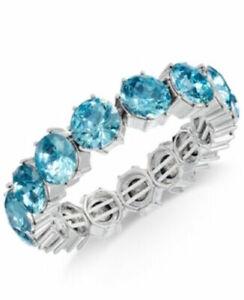 Charter Club Women's Silver Tone Stretch Bracelet Faux Aquamarine Stones