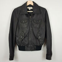 JUST JEANS | Womens Black zip up Leather Jacket  [ Size AU 8 or US 4 ]