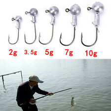20pcs/lot 2g 3.5g 5g 7g 10g lead jig head hook lure bait carp fishing worm BDAU
