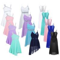 Kids Girls Lyrical Ballet Dance Leotard Camisole Dress Sequins Modern Dancewear