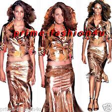 Roberto Cavalli Vintage matt  Pink Gold Beige Distressed Leather Suede Skirt