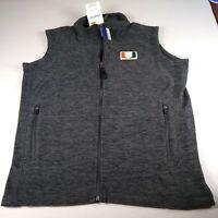 Ouray Sportswear NCAA Miami Hurricanes Fleece Guide Vest Gray Size Small
