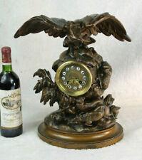 Antique 19thc Black forest Zamac Bronze patina Clock eagle deer hunt rare