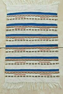 Vintage blue and beige striped wool table runner from Sweden