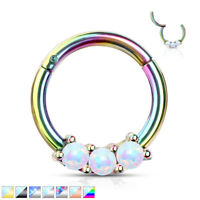 1pc Three Opals Hinged Segment Ring Septum Clicker 316L Surgical Steel