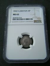 More details for 1842 groat fourpence 4d - ngc ms65 - great britain victoria