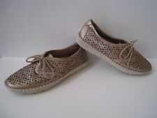 EARTH PAX BLUSH PEARLIZED LASER CUT LEATHER OXFORDS WOMEN SIZE US 11B COMFORT