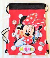 Purple Disney Minnie Mouse Drawstring Backpack Sling Tote School Sport Gym Bag