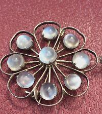 Antique Art Deco Arts Crafts Moonstone Floral Pendant