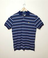 Polo Ralph Lauren Mens L Striped Blue red white collared polo T shirt Tee Shirt